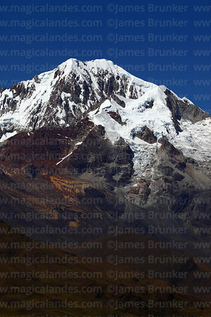 Close up of glaciers of Mt Illampu seen from north west, Cordillera Real, Bolivia
