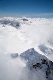 Aerial view of Warburton Peak surrounded by clouds, looking south, South Georgia, Antarctica, December 2006