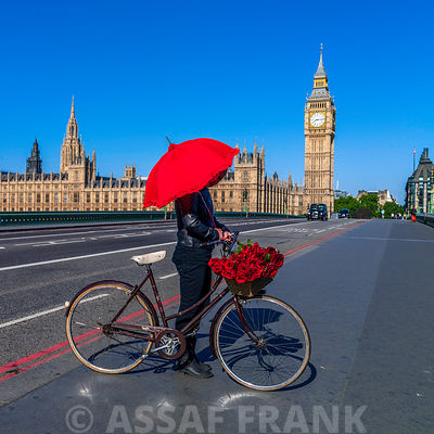 Tourist with a bicycle standing under an umbrella on Westminster Bridge, London, UK