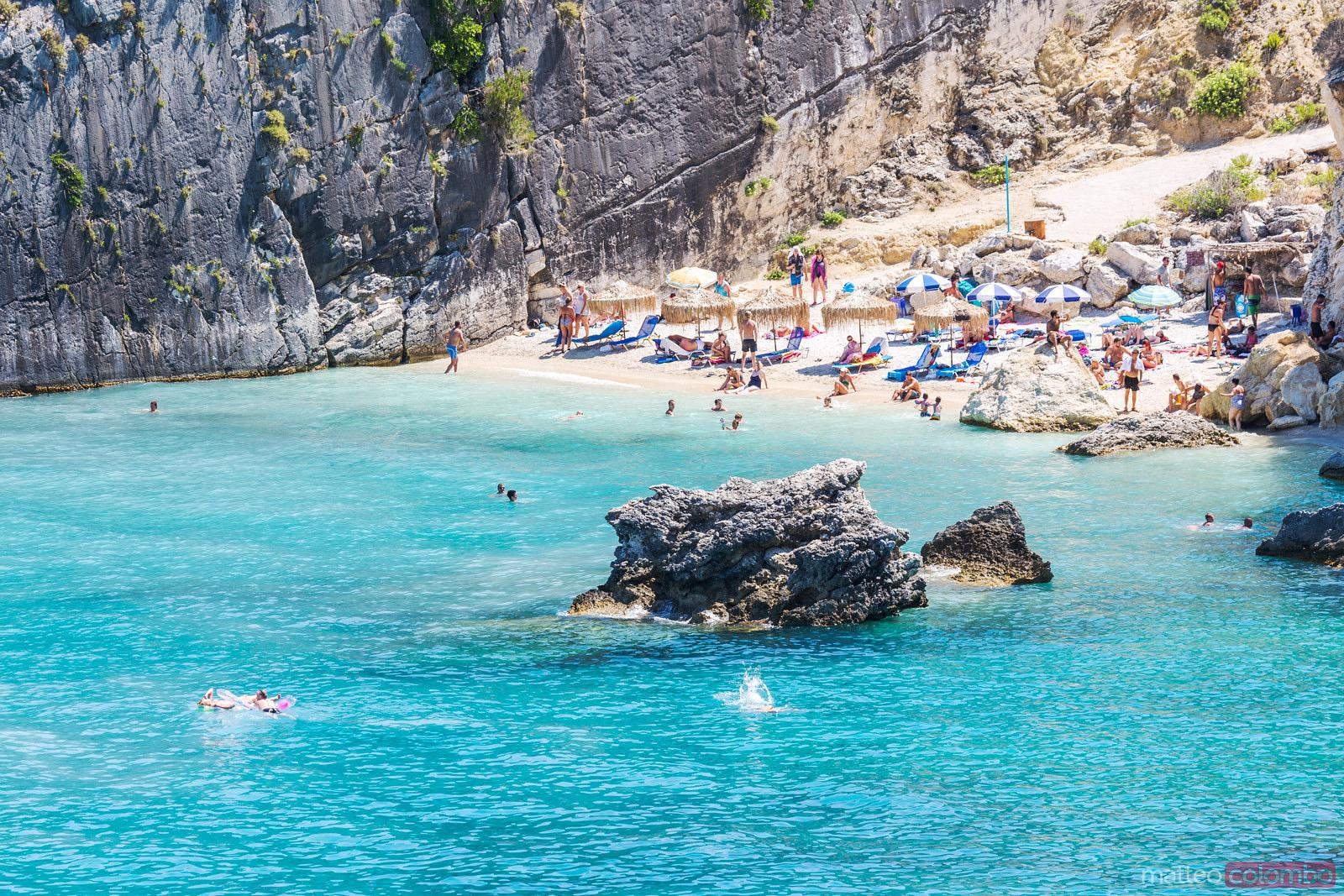 Xigia beach crowded with tourists in summer, Zante, Greece