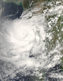 The MODIS on the Aqua satellite captured this image of Cyclone Nargis on May 2, 2008 at 6:45 UTC, the day after this image of...