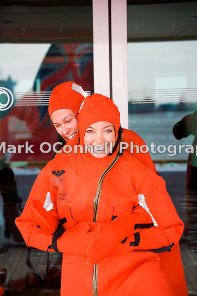Stewardess in emersion suit