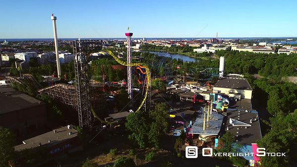 Linnanmaki, Aerial View Around the Helsinki Amusement Park, on a Sunny Summer Morning Dawn, in Helsingfors, Uusimaa, Finland