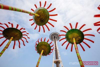 Sonic bloom and the Space Needle, Seattle, USA