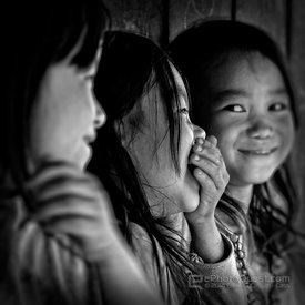 Young Hmong Girls Laughing