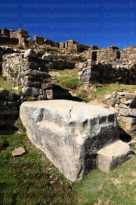 Large carved rock in the Chincana Inca ruins, Sun Island, Lake Titicaca, Bolivia