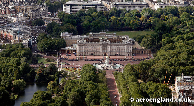 aerial photograph of Buckingham Palace London England UK