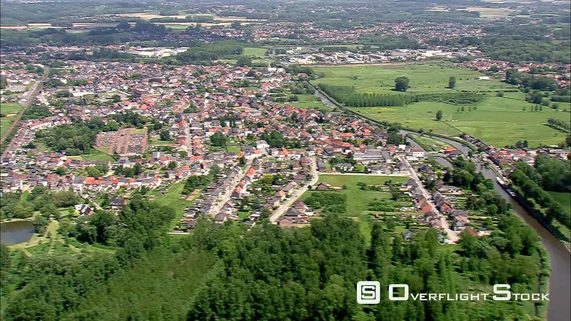 Flying over a city in Flanders, Belgium