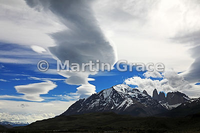Spectacular lenticular clouds over Macizo Paine from Estancia Laguna Amarga, Patagonia, Region XII Magallanes y Antartica Chi...