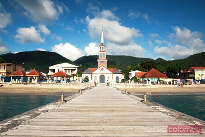 Pier to village in Martinique Caribbean