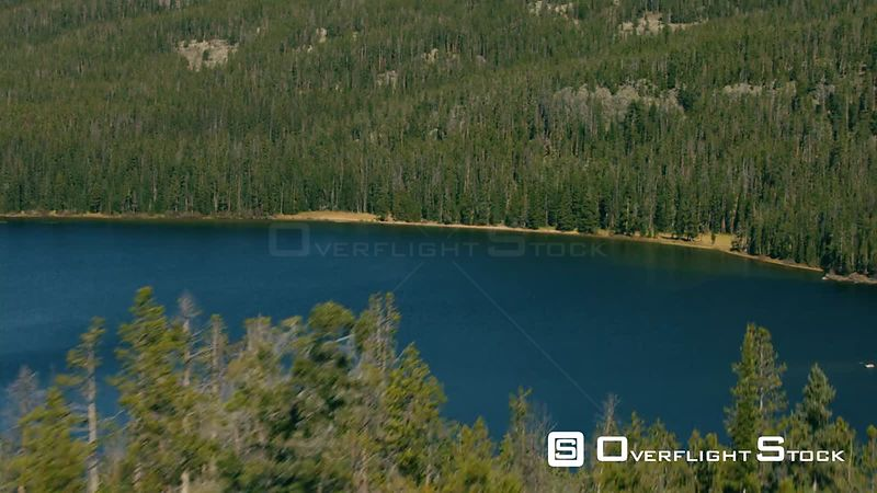A high mountain lake sits in the heart of the Beartooth mountain range near Yellowstone National Park