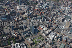 Manchester High Level view of Central Manchester with Piccadilly Gardens in foreground