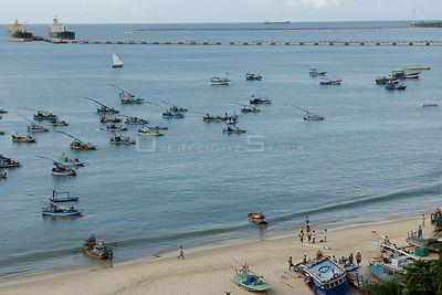 Rafts moored off Mucuripe Beach in Fortaleza city, Ceara¡ State, Northeastern Brazil. March 2009