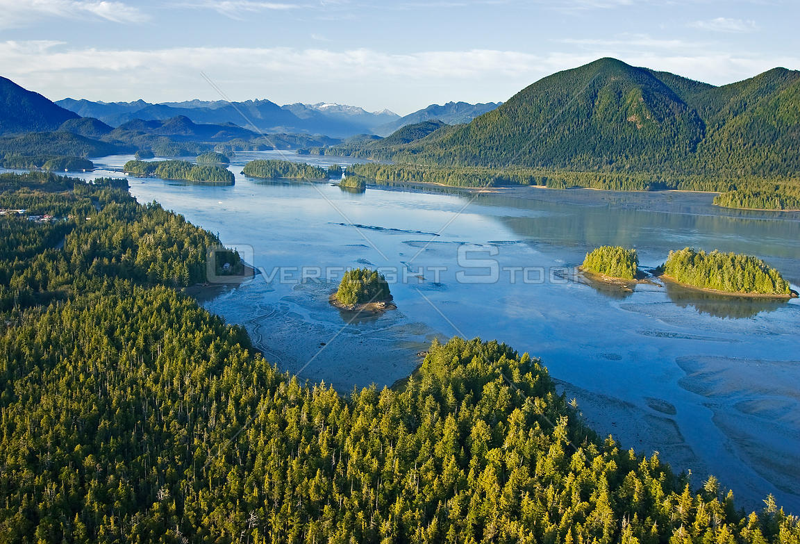 Aerial view of Browing Passage, Clayoquot Sound, Vancouver Island, British Columbia, Canada