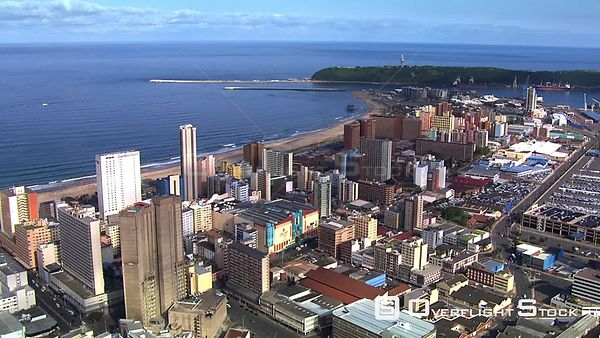 Aerial view of buildings along Durban's shoreline. Durban kwaZulu Natal South Africa