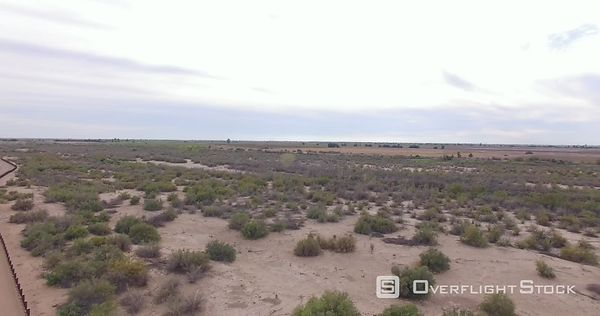 Drone Video Yuma County Arizona US Mexico Border Steel Fencing