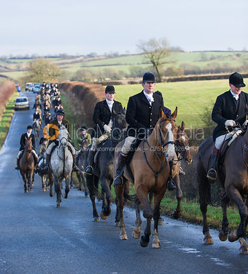The field riding into Knossington - Cottesmore Hunt at Deane Bank Farm 4/12/12