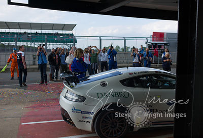 TF Sport's Aston Martin Vantage GT4 in the pits, post-race, at the Silverstone 500 - the third round of the British GT Champi...