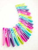 Clothes pegs in a fan shape arrangment
