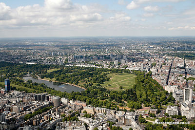 aerial photograph of Hyde Park  London England UK. Also in the foreground of the photo are  Knightsbridge, Westminster, Londo...