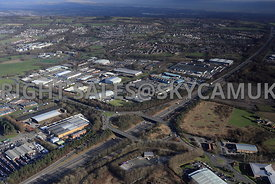 Skelmersdale high level aerial view of junction 4 M58 motorway showing the Gillibrand Road and Industrial Estate