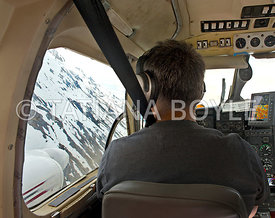 Inside the cockpit of small jet
