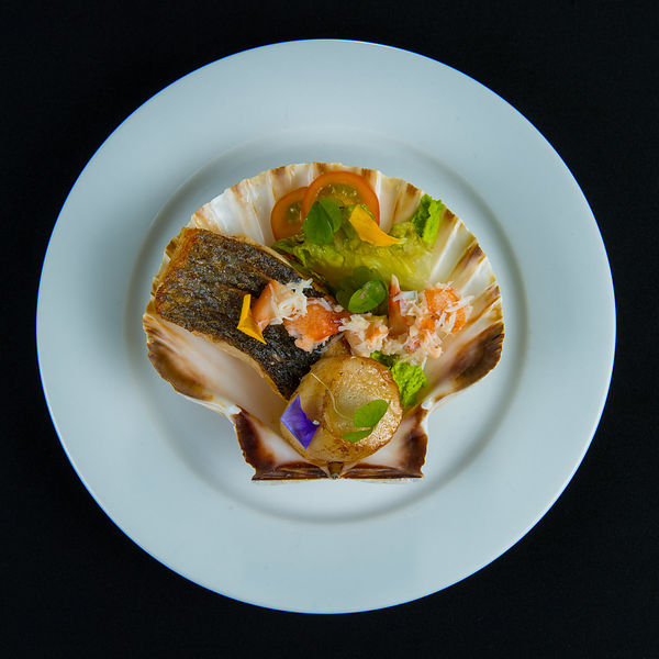 Food Shot - seafood Platter Presented in a Scallop Shell on a White Plate with Black Background