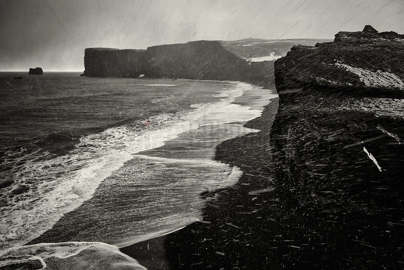 Black Sand Beach in a Snow Storm at Cape Dyrholaey
