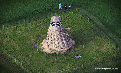 aerial photographs of giant Dalek made from straw. This 35 ft tall Dalick was created by Snugburys the ice cream people at Pa...