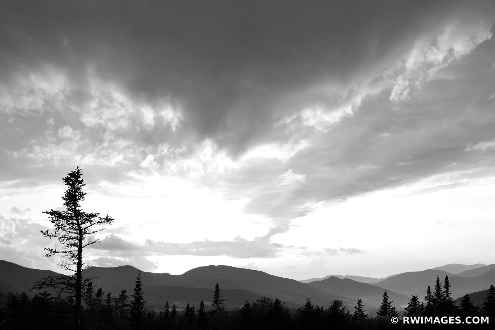SUNSET WHITE MOUNTAINS KANCAMAGUS HIGHWAY NEW HAMPSHIRE BLACK AND WHITE LANDSCAPE