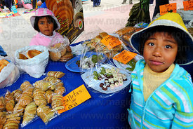 Stall selling biscuits and sweets made from coca leaf flour at trade fair promoting alternative products made from coca leave...