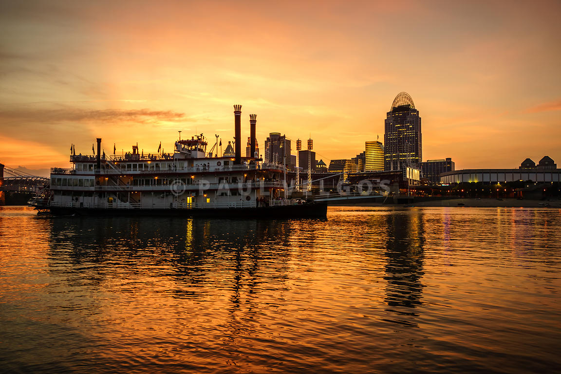 Cincinnati Skyline and Riverboat at Sunset