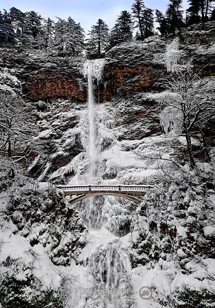 Multnomah falls under snow and ice; Columbia River Gorge, Oregon, U.S.A.