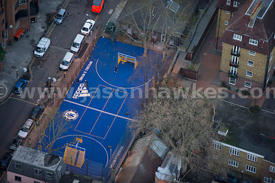 Aerial view of football pitch in Chelsea