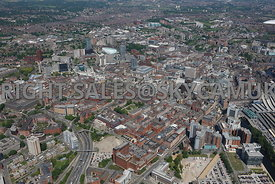 Leeds high level aerial photograph of The Headrow and city centre