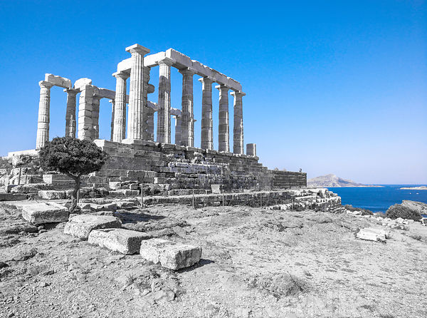 Old pillars of the Temple of Poseidon, Greece