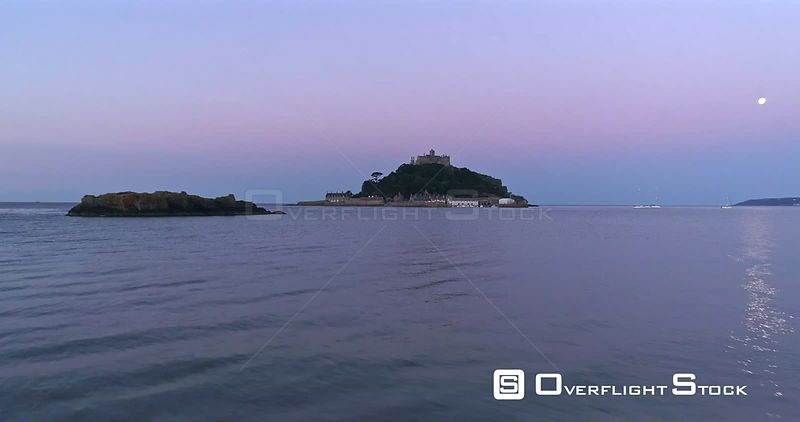 St Michaels Mount Cornwall behind during morning twilight.