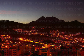 City lights in La Paz and Mt Illimani before dawn , Bolivia