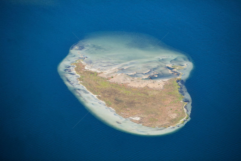 Aerial photograph of  Island in Lake Sibaya, KwaZulu-Natal Province, South Africa, June 2010