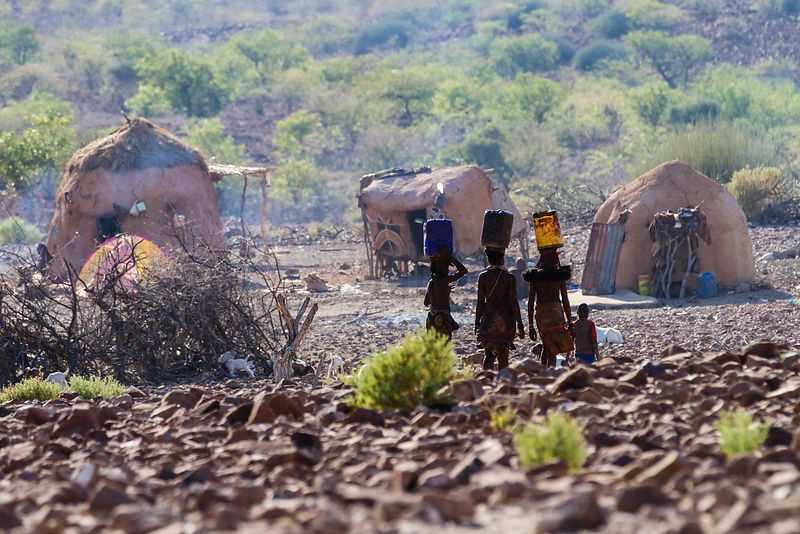 Himba Women Walking to their Village