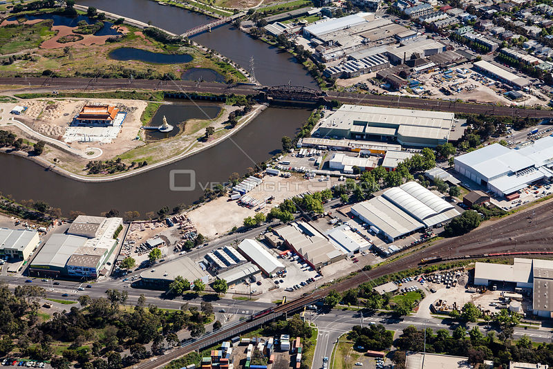 West Melbourne with Kensington Road and Maribyrnong River in sight Victoria Australia