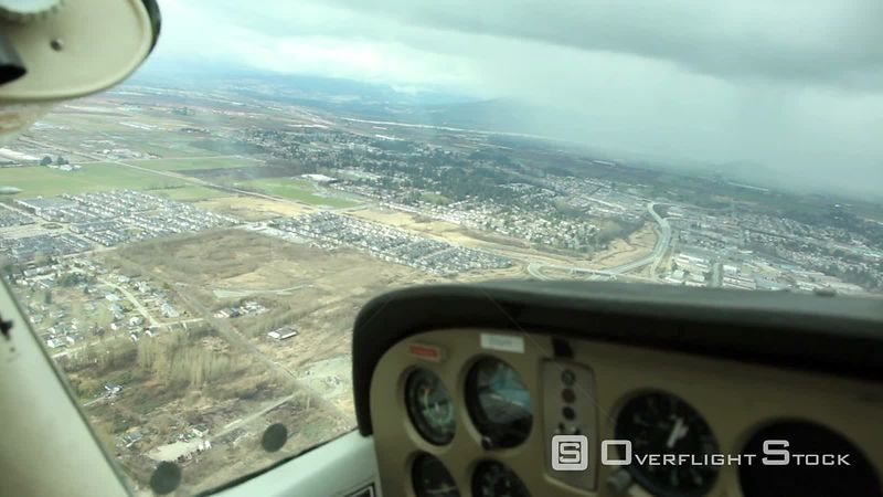 Aerial view from Small Plane of Pitt Meadows B.C. Canada