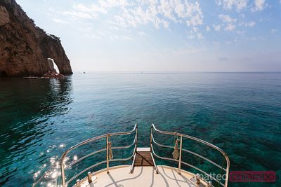 Sailing in the blue sea of the greek island of Zakynthos, Greek Islands, Greece