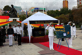 Bolivian Navy members present a floral tribute at start of official events for Dia del Mar / Day of the Sea  , La Paz , Bolivia