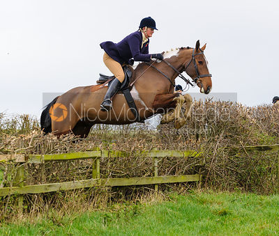 Debbie Barnes jumping at Stone Lodge Farm - The Cottesmore Hunt at Tilton on the Hill, 9-11-13