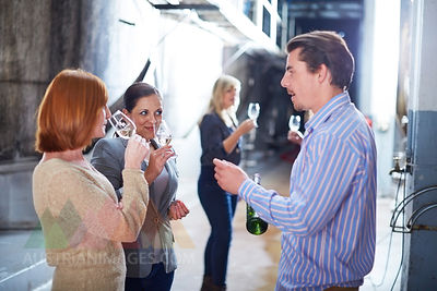 Wine tasting on shop floor