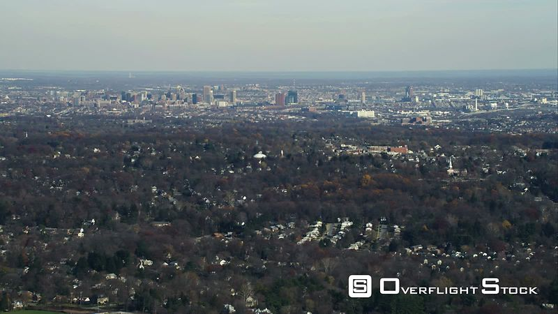 Over residential areas, approaching Baltimore, Maryland. Shot in November
