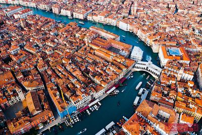 Aerial of Rialto bridge and Grand Canal