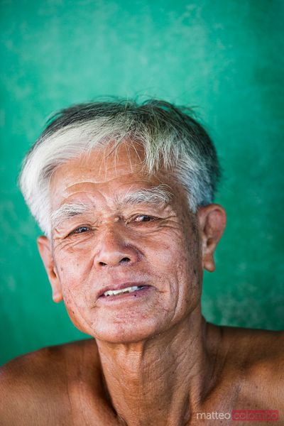Old chinese fisherman portrait, Hong Kong