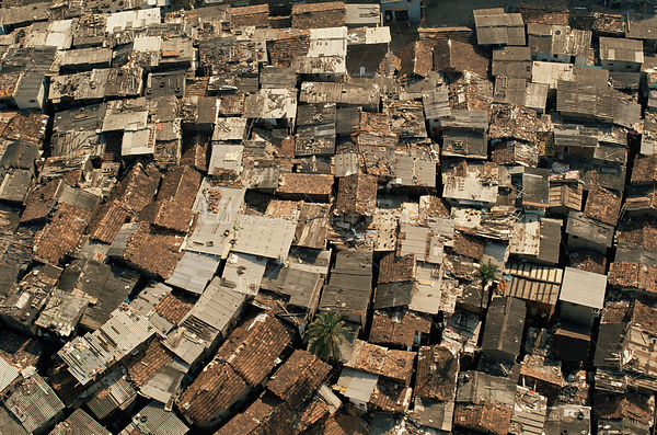 Aerial view of Bombay shanty town, Maharashtra, India